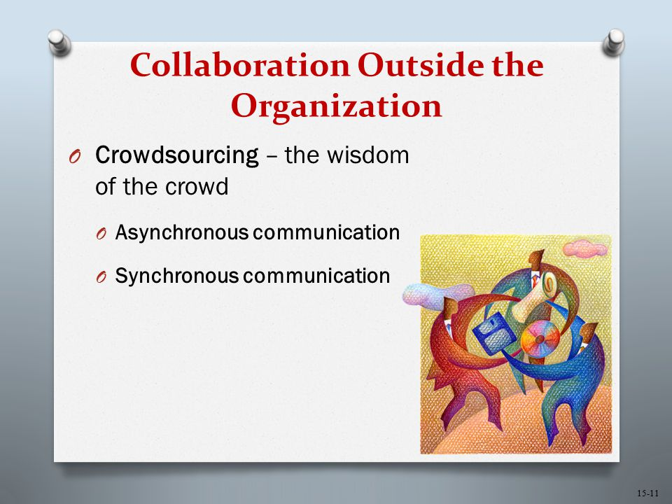 15-11 Collaboration Outside the Organization O Crowdsourcing – the wisdom of the crowd O Asynchronous communication O Synchronous communication
