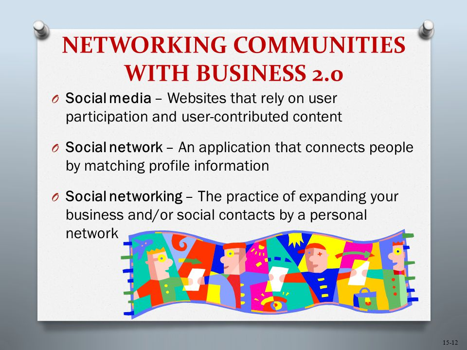 15-12 NETWORKING COMMUNITIES WITH BUSINESS 2.0 O Social media – Websites that rely on user participation and user-contributed content O Social network