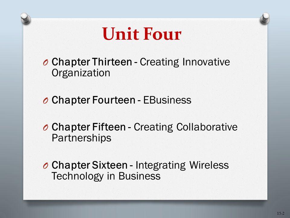 15-2 Unit Four O Chapter Thirteen - Creating Innovative Organization O Chapter Fourteen - EBusiness O Chapter Fifteen - Creating Collaborative Partner