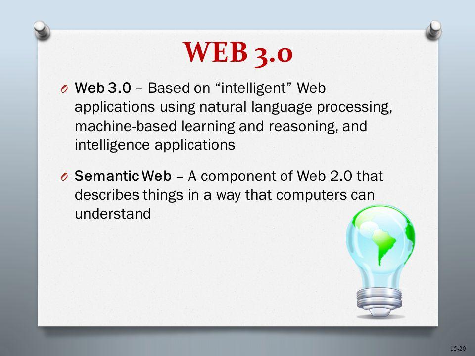 "15-20 WEB 3.0 O Web 3.0 – Based on ""intelligent"" Web applications using natural language processing, machine-based learning and reasoning, and intelli"