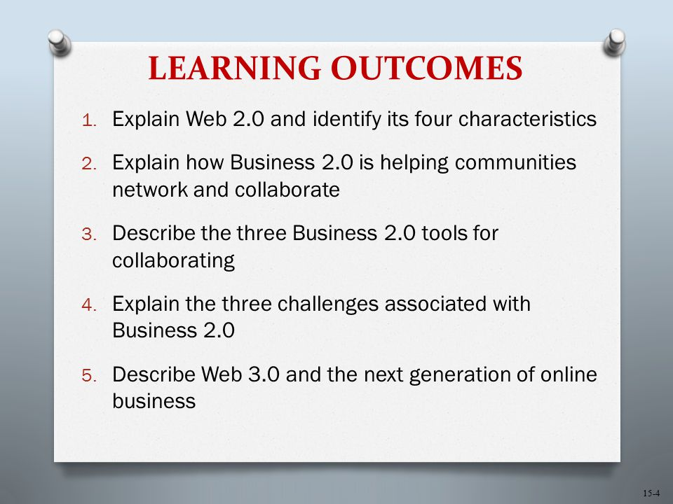 15-4 LEARNING OUTCOMES 1. Explain Web 2.0 and identify its four characteristics 2. Explain how Business 2.0 is helping communities network and collabo