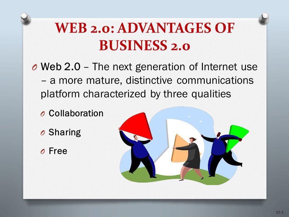 15-5 WEB 2.0: ADVANTAGES OF BUSINESS 2.0 O Web 2.0 – The next generation of Internet use – a more mature, distinctive communications platform characte