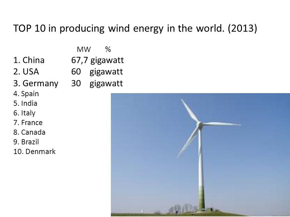 TOP 10 in producing wind energy in the world. (2013) MW % 1.
