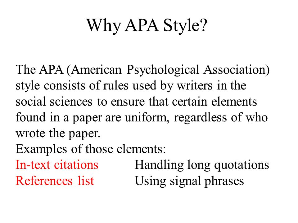 Apa format for psychology papers