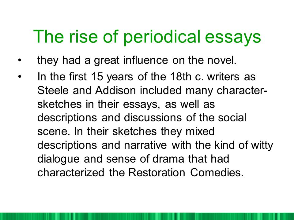 rise of periodical essay in the 18th century