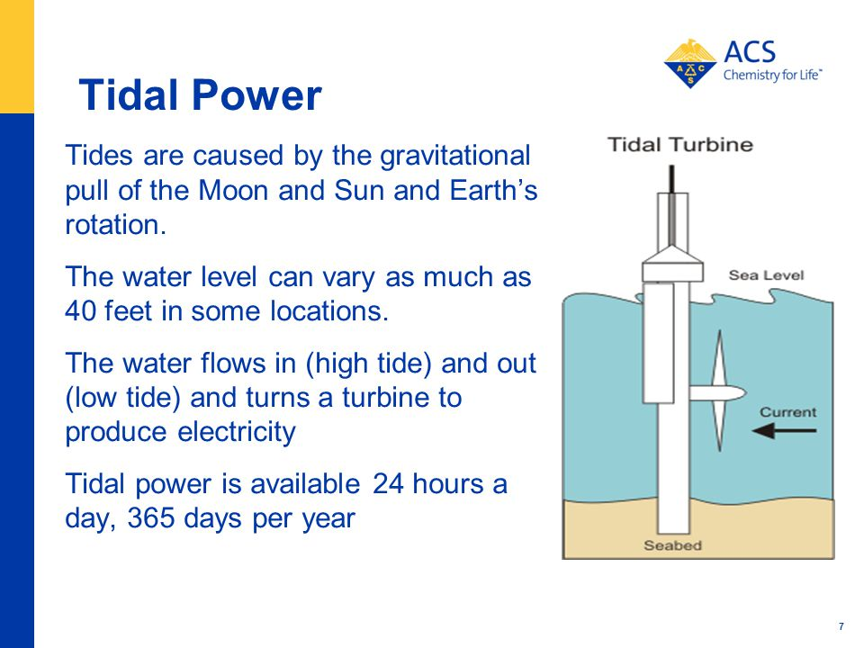 Tidal Power Tides are caused by the gravitational pull of the Moon and Sun and Earth's rotation.