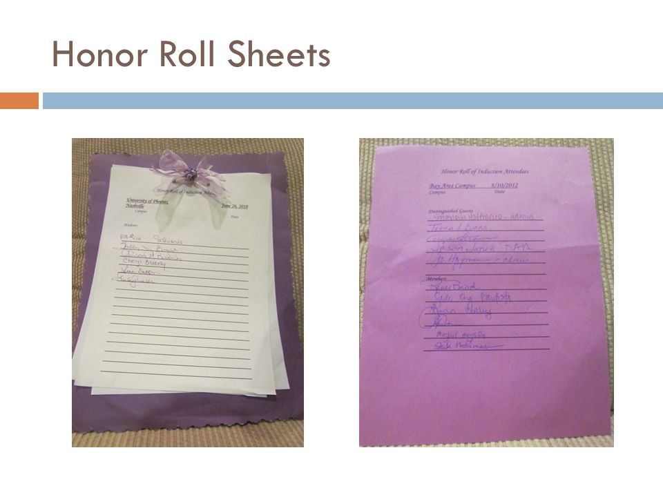 Honor Roll Sheets