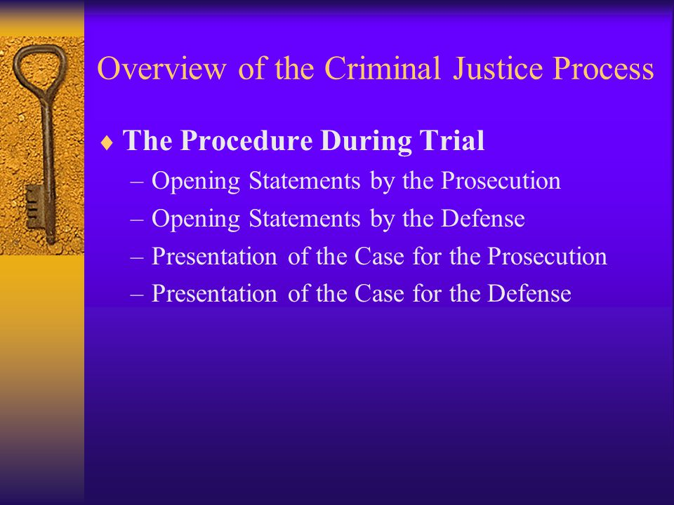 Overview of the Criminal Justice Process  The Procedure During Trial –Opening Statements by the Prosecution –Opening Statements by the Defense –Presentation of the Case for the Prosecution –Presentation of the Case for the Defense