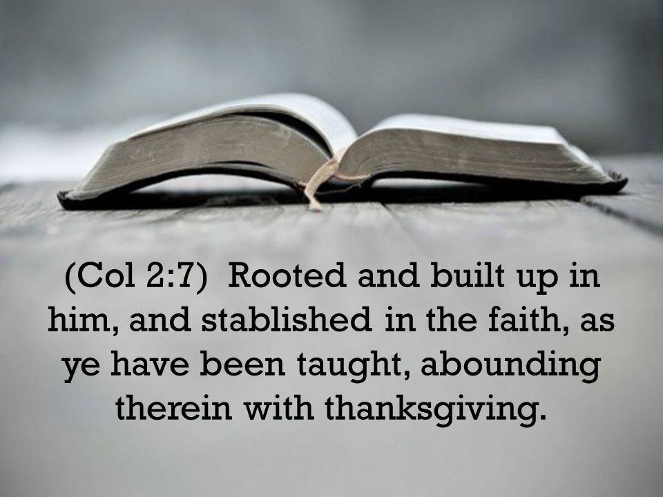(Col 2:7) Rooted and built up in him, and stablished in the faith, as ye have been taught, abounding therein with thanksgiving.