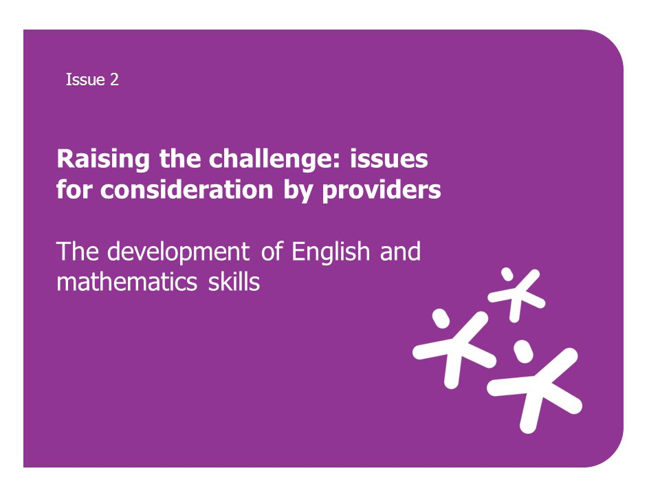 Raising the challenge: issues for consideration by providers The development of English and mathematics skills Issue 2