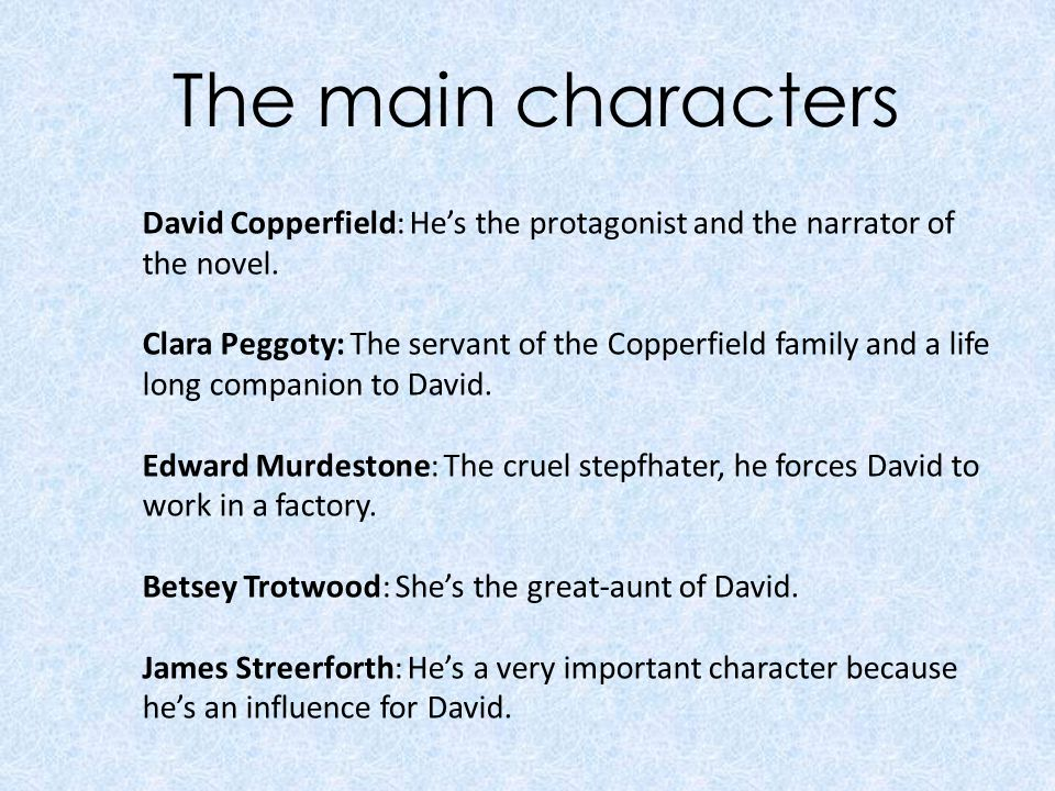 david copperfield charles dickens biography charles dickens was  the main characters david copperfield he s the protagonist and the narrator of the novel