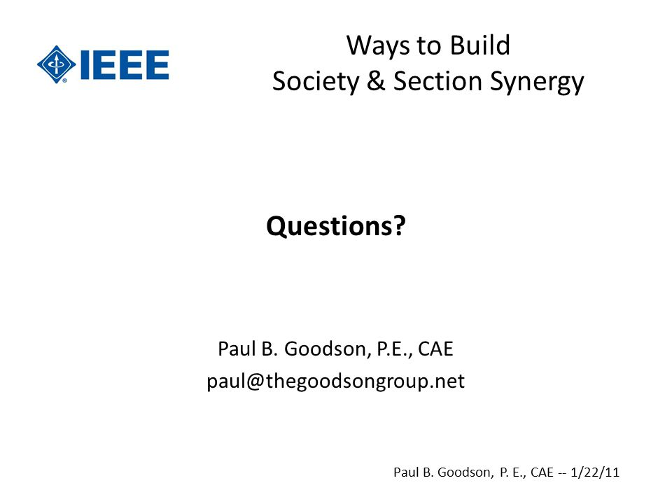 Ways to Build Society & Section Synergy Questions.