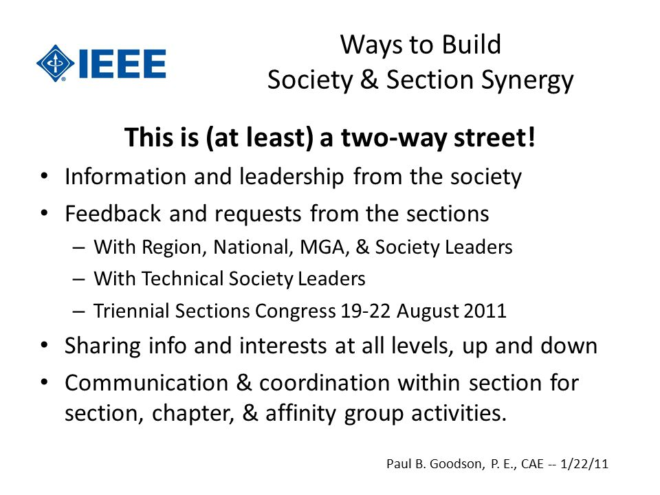 Ways to Build Society & Section Synergy This is (at least) a two-way street.
