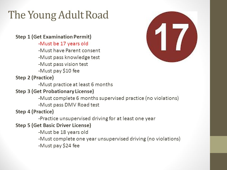 The Young Adult Road Step 1 (Get Examination Permit) -Must be 17 years old -Must have Parent consent -Must pass knowledge test -Must pass vision test -Must pay $10 fee Step 2 (Practice) -Must practice at least 6 months Step 3 (Get Probationary License) -Must complete 6 months supervised practice (no violations) -Must pass DMV Road test Step 4 (Practice) -Practice unsupervised driving for at least one year Step 5 (Get Basic Driver License) -Must be 18 years old -Must complete one year unsupervised driving (no violations) -Must pay $24 fee