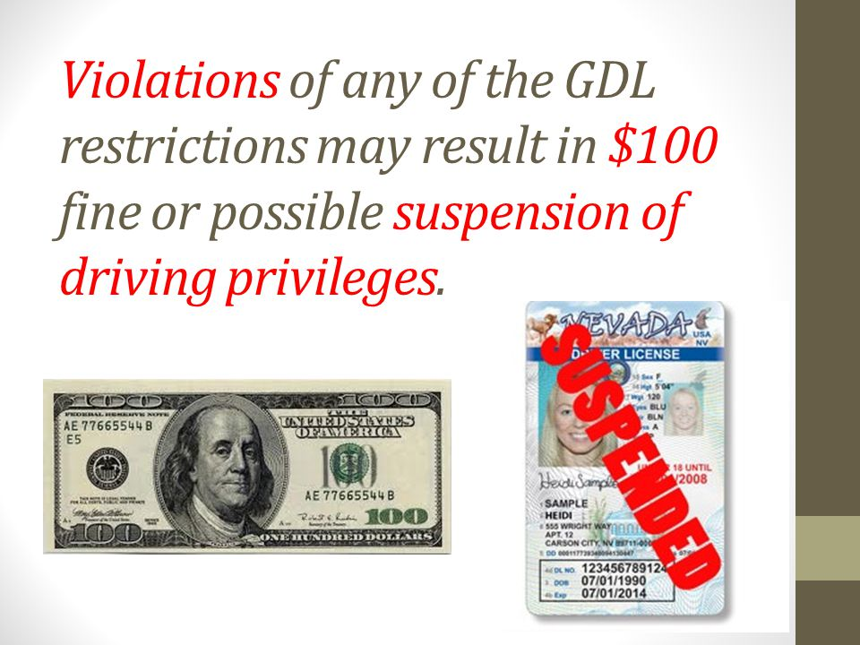 Violations of any of the GDL restrictions may result in $100 fine or possible suspension of driving privileges.