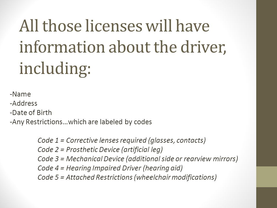 All those licenses will have information about the driver, including: -Name -Address -Date of Birth -Any Restrictions…which are labeled by codes Code 1 = Corrective lenses required (glasses, contacts) Code 2 = Prosthetic Device (artificial leg) Code 3 = Mechanical Device (additional side or rearview mirrors) Code 4 = Hearing Impaired Driver (hearing aid) Code 5 = Attached Restrictions (wheelchair modifications)