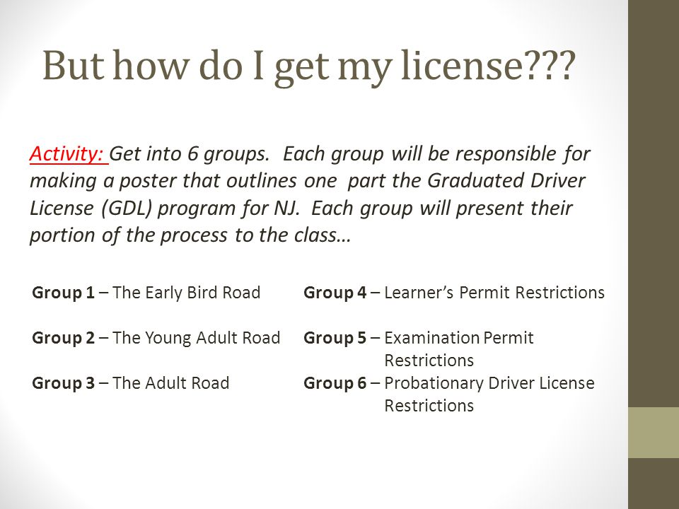 But how do I get my license . Activity: Get into 6 groups.
