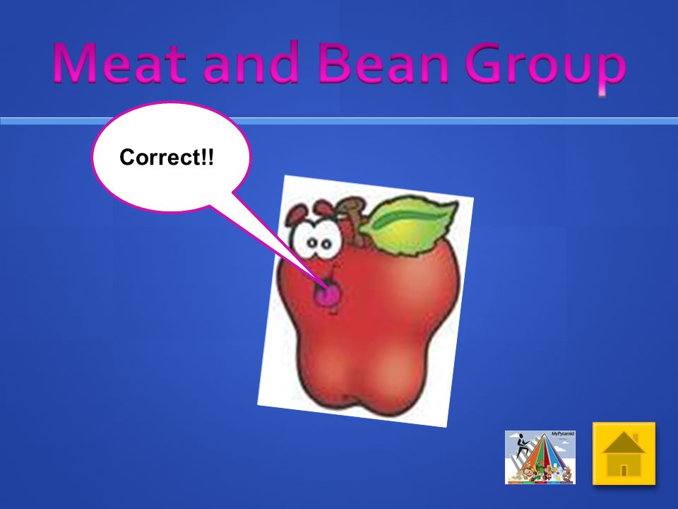 Click on the picture of food from the Meat and Bean Group What do you think