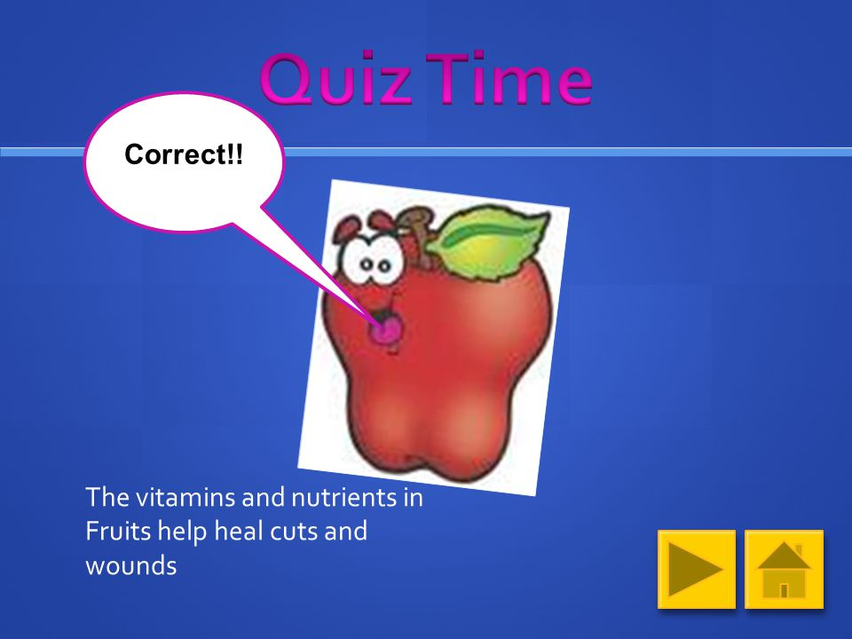 Question 3 (Click on your answer) Why should you eat Fruits.