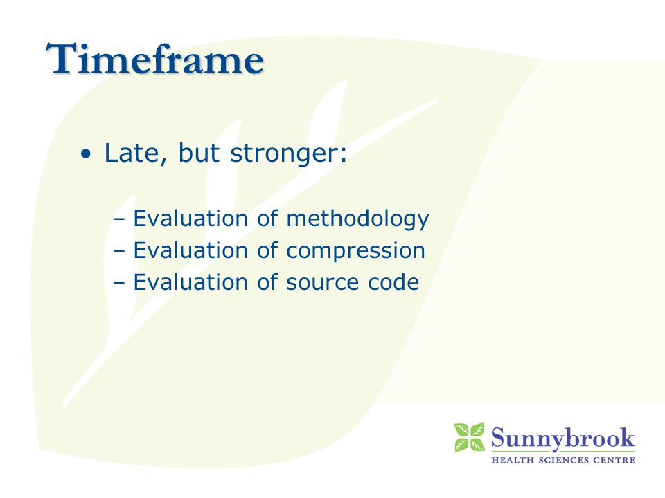 Timeframe Late, but stronger: –Evaluation of methodology –Evaluation of compression –Evaluation of source code