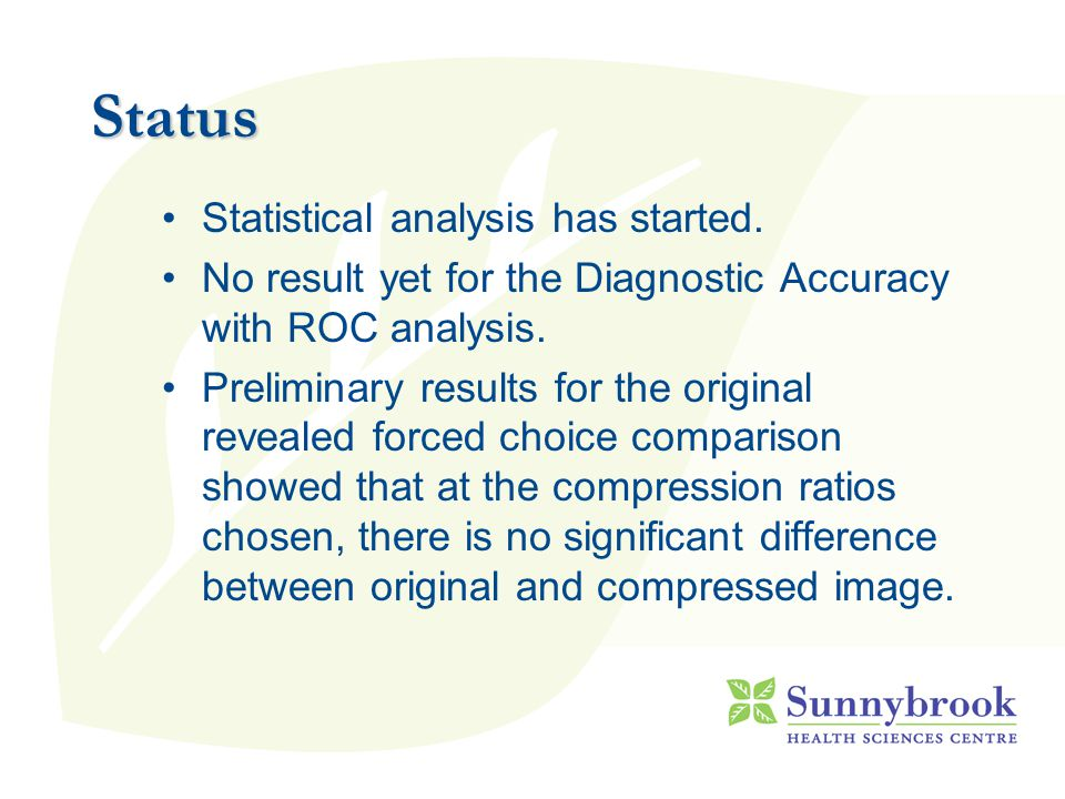 Status Statistical analysis has started.