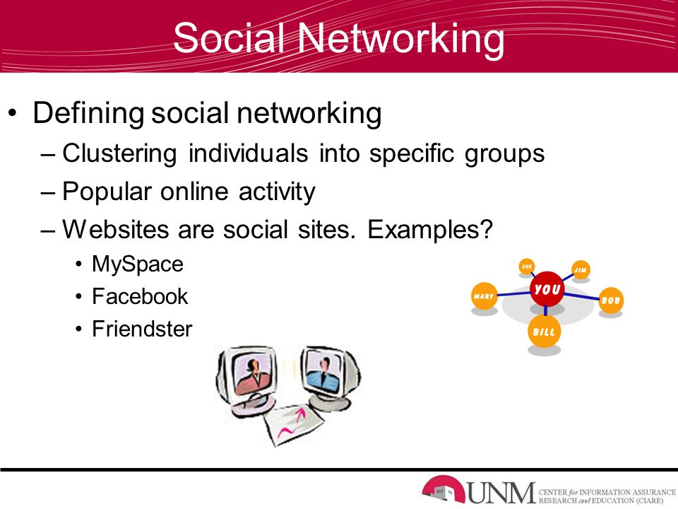 Social Networking Defining social networking –Clustering individuals into specific groups –Popular online activity –Websites are social sites.