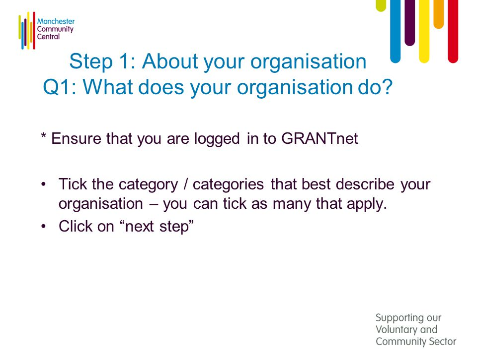 Step 1: About your organisation Q1: What does your organisation do.