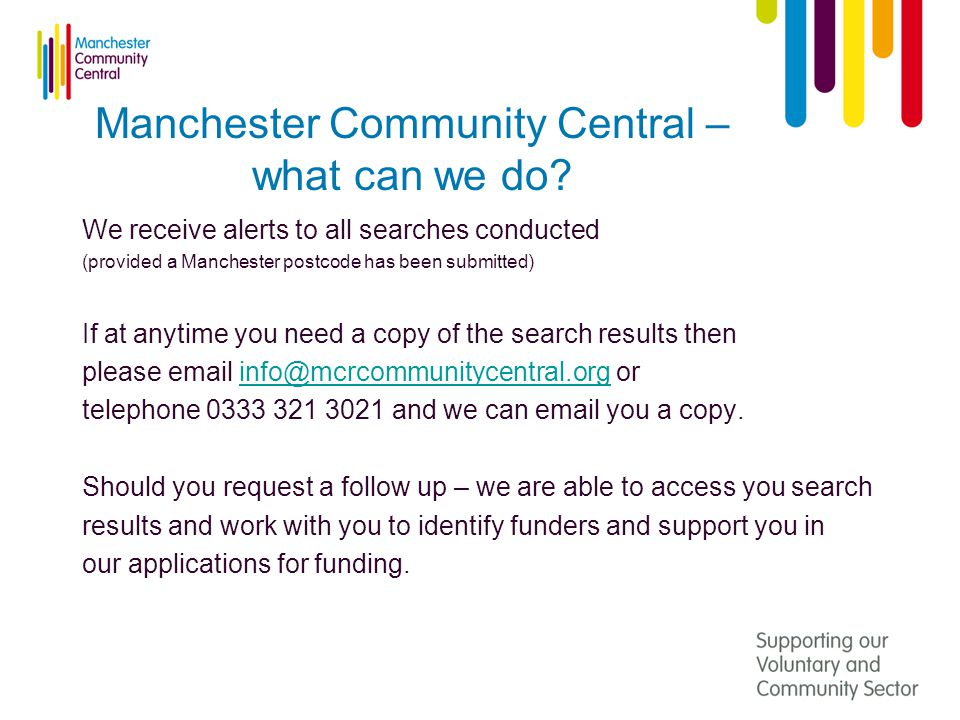 Manchester Community Central – what can we do.
