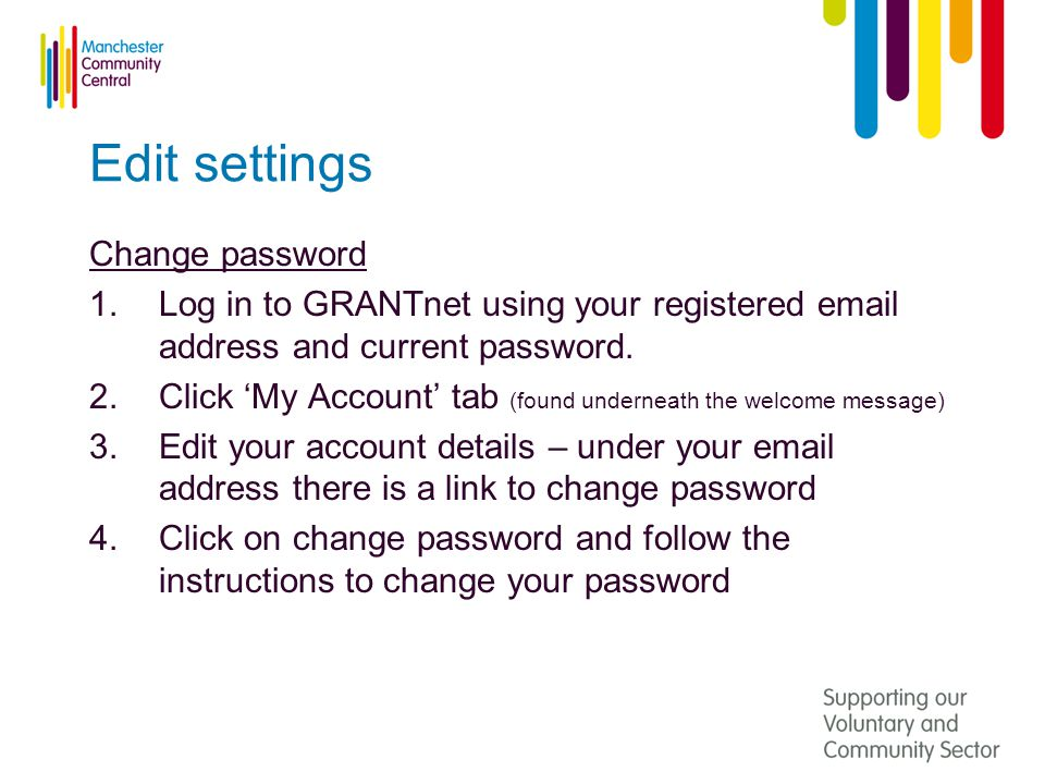 Edit settings Change password 1.Log in to GRANTnet using your registered  address and current password.