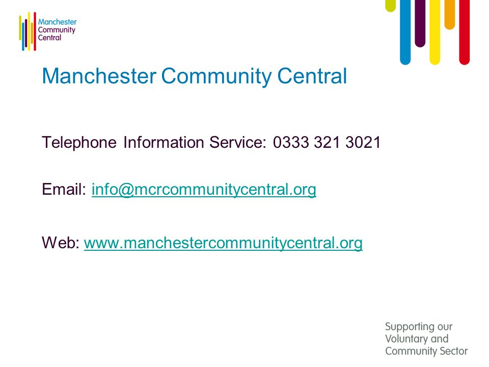 Manchester Community Central Telephone Information Service: Web: