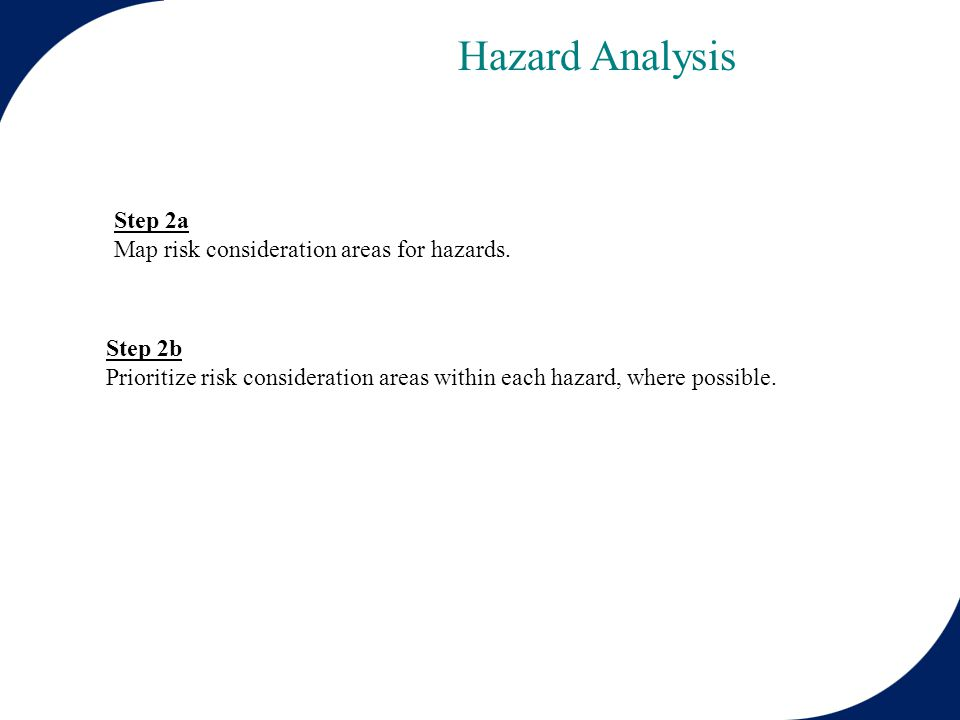 Step 2a Map risk consideration areas for hazards.