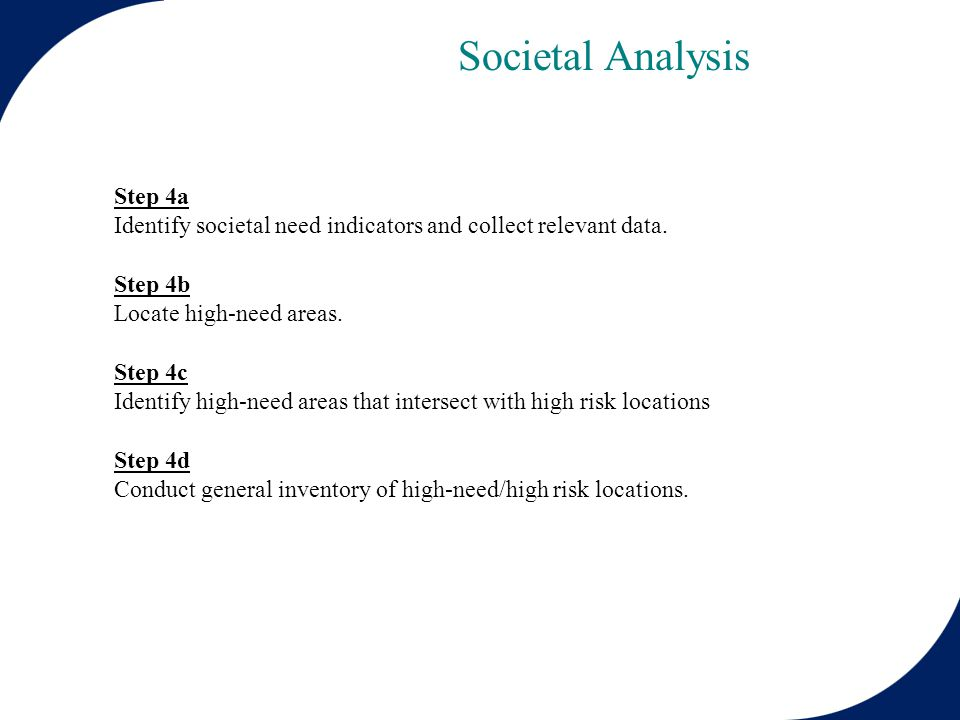 Step 4a Identify societal need indicators and collect relevant data.