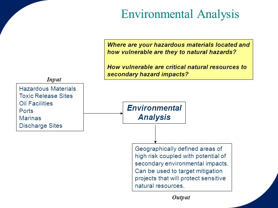 Environmental Analysis Hazardous Materials Toxic Release Sites Oil Facilities Ports Marinas Discharge Sites Environmental Analysis Geographically defined areas of high risk coupled with potential of secondary environmental impacts.