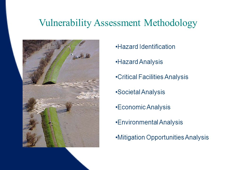 Hazard Identification Hazard Analysis Critical Facilities Analysis Societal Analysis Economic Analysis Environmental Analysis Mitigation Opportunities Analysis Vulnerability Assessment Methodology