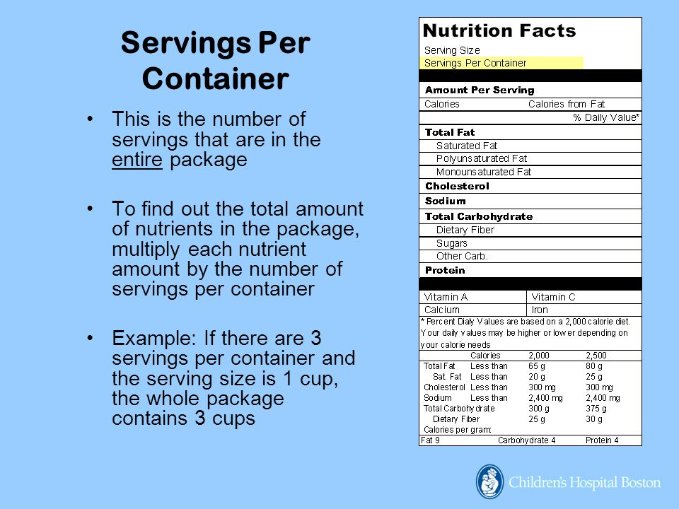Servings Per Container This is the number of servings that are in the entire package To find out the total amount of nutrients in the package, multiply each nutrient amount by the number of servings per container Example: If there are 3 servings per container and the serving size is 1 cup, the whole package contains 3 cups