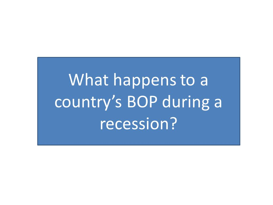 What happens to a country's BOP during a recession