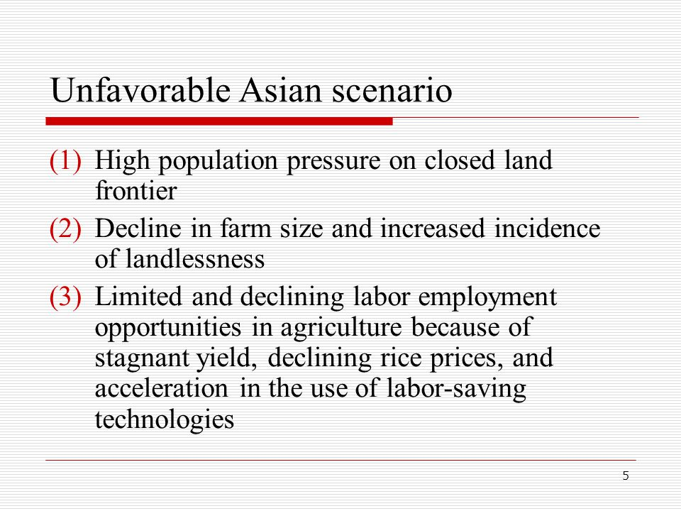 5 Unfavorable Asian scenario (1)High population pressure on closed land frontier (2)Decline in farm size and increased incidence of landlessness (3)Limited and declining labor employment opportunities in agriculture because of stagnant yield, declining rice prices, and acceleration in the use of labor-saving technologies