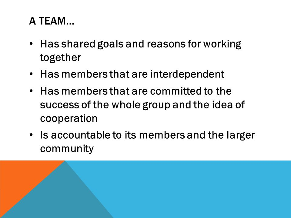 A TEAM… Has shared goals and reasons for working together Has members that are interdependent Has members that are committed to the success of the who