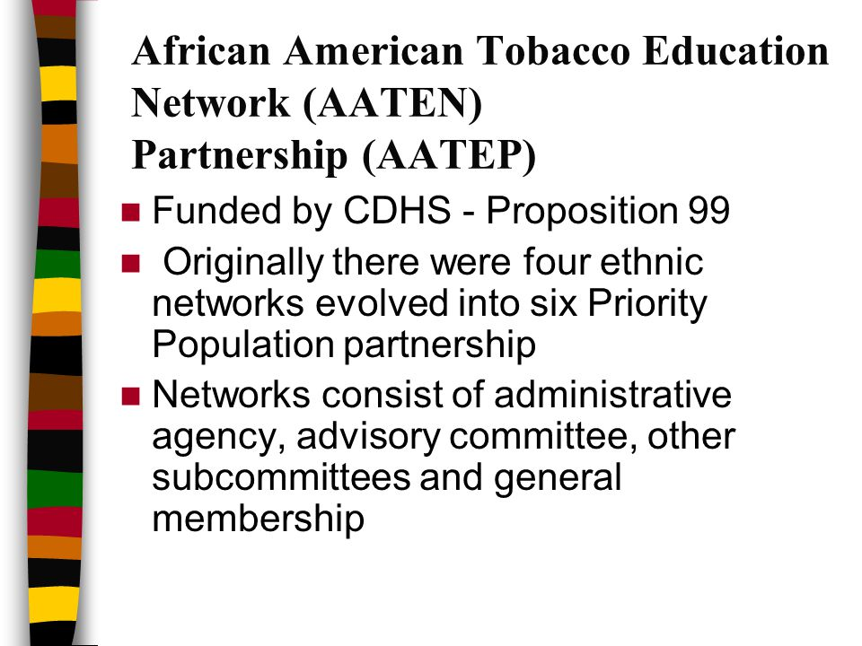 African American Tobacco Education Network (AATEN) Partnership (AATEP) Funded by CDHS - Proposition 99 Originally there were four ethnic networks evolved into six Priority Population partnership Networks consist of administrative agency, advisory committee, other subcommittees and general membership