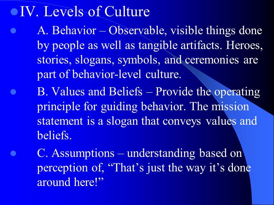 IV.Levels of Culture A.