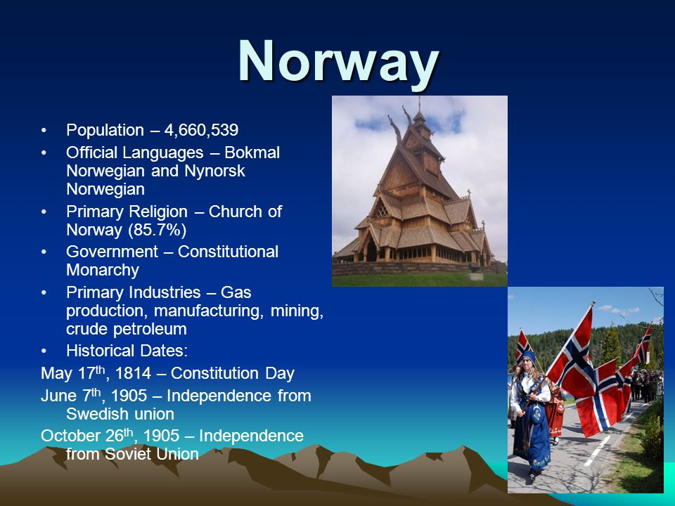Norway Population – 4,660,539 Official Languages – Bokmal Norwegian and Nynorsk Norwegian Primary Religion – Church of Norway (85.7%) Government – Constitutional Monarchy Primary Industries – Gas production, manufacturing, mining, crude petroleum Historical Dates: May 17 th, 1814 – Constitution Day June 7 th, 1905 – Independence from Swedish union October 26 th, 1905 – Independence from Soviet Union