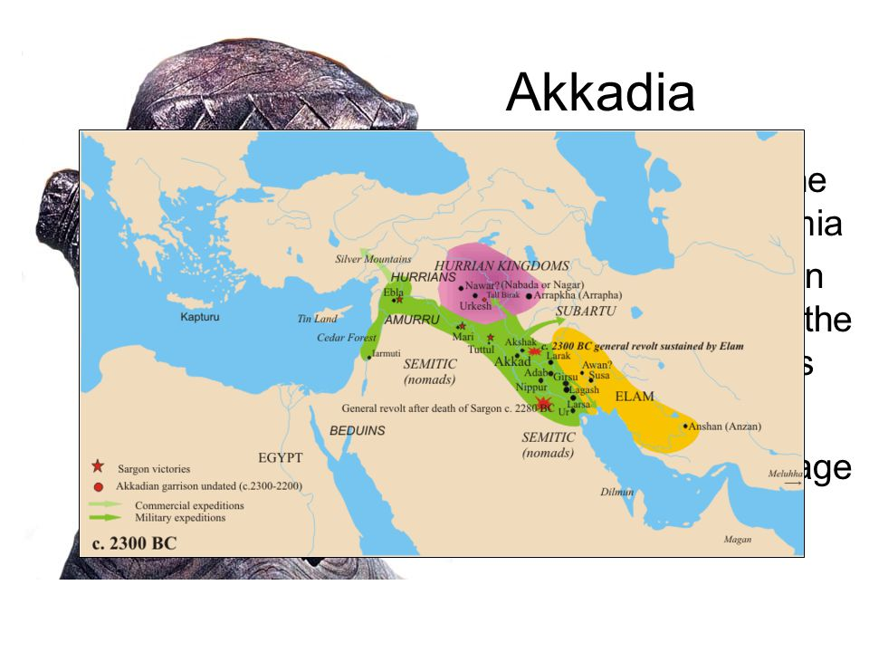 Akkadia A small culture to the North of Mesopotamia Sargon, an Akkadian king, conquered all the Sumerian city-states Ruled for 54 years Changed the language to Sumerian