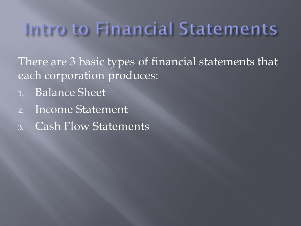 Accounting  There Are  Basic Types Of Financial Statements