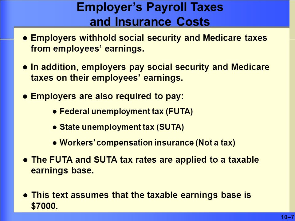 10–7 Employers withhold social security and Medicare taxes from employees' earnings.