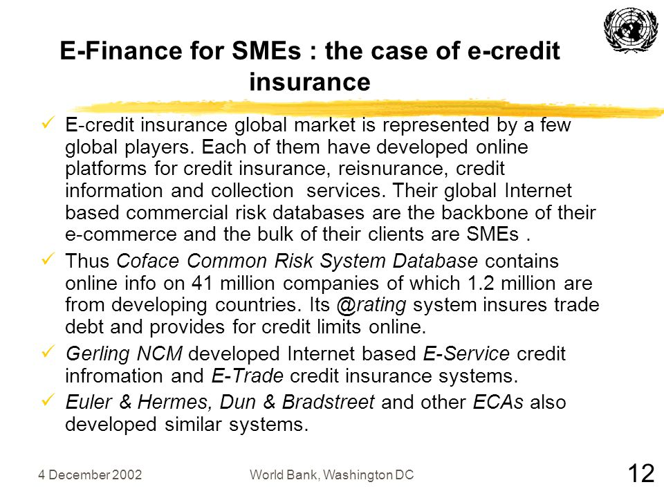 4 December 2002World Bank, Washington DC E-Finance for SMEs : the case of e-credit insurance E-credit insurance global market is represented by a few global players.