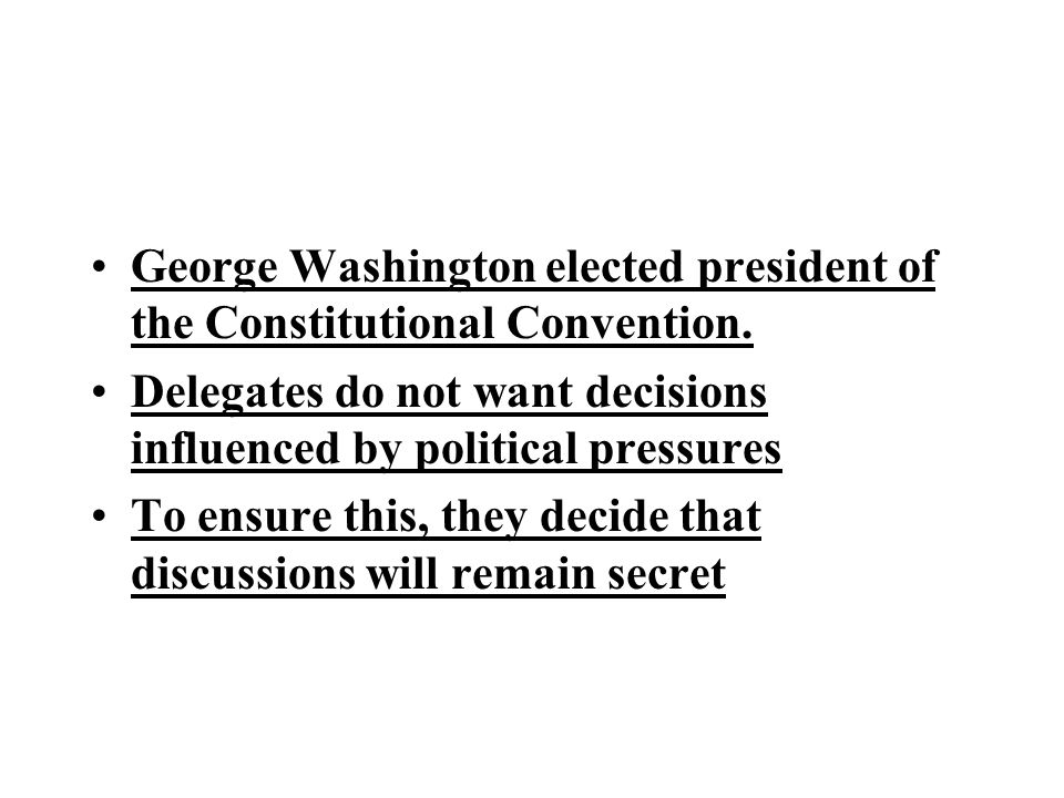 George Washington elected president of the Constitutional Convention.