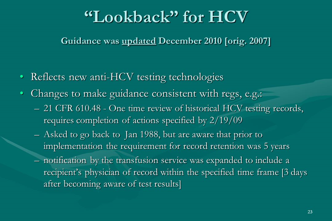 23 Lookback for HCV Guidance was updated December 2010 [orig.
