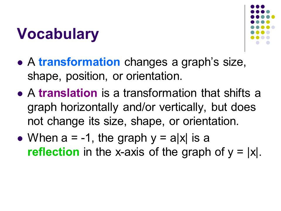 Vocabulary A transformation changes a graph's size, shape, position, or orientation.