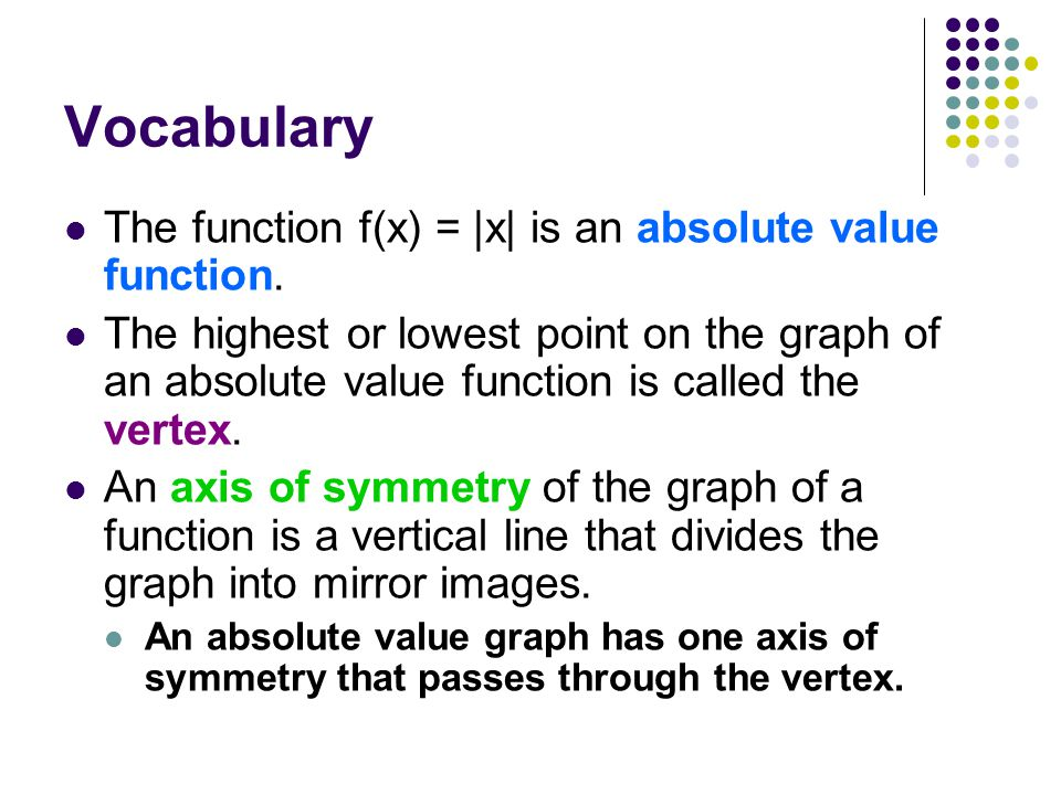 Vocabulary The function f(x) = |x| is an absolute value function.