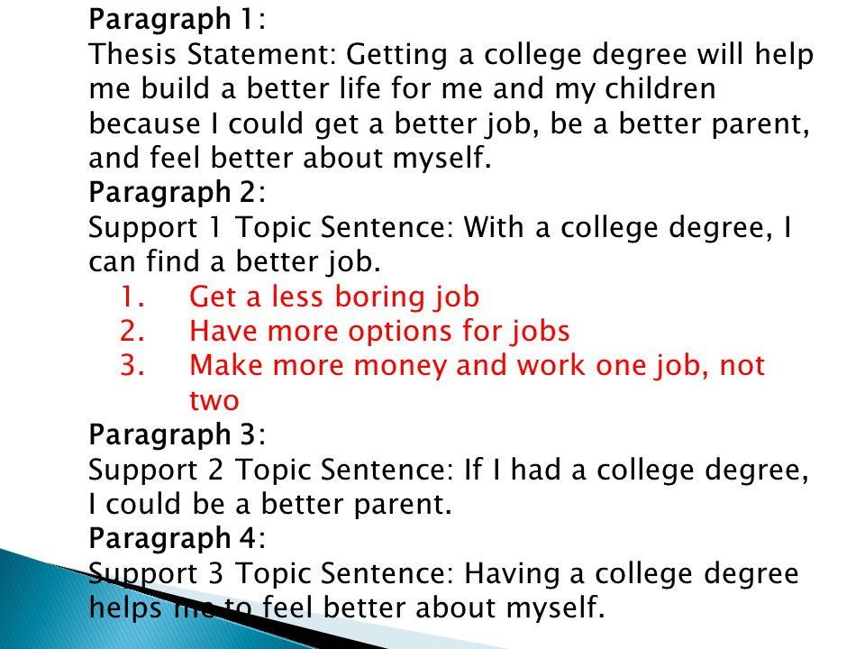 Paragraph 1: Thesis Statement: Getting a college degree will help me build a better life for me and my children because I could get a better job, be a better parent, and feel better about myself.